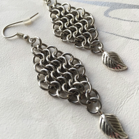 "Stainless Steel Medieval Chainmaille Earrings with Silver Leaf  2"" Long"