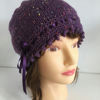 1920s Style Hat, Purple Tweed Vintage Winter Hat, Ribbon Laced Fancy Beanie Hat