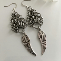 Long Silver Angel Wing Viking Style Chainmail Earrings Stanless Steel