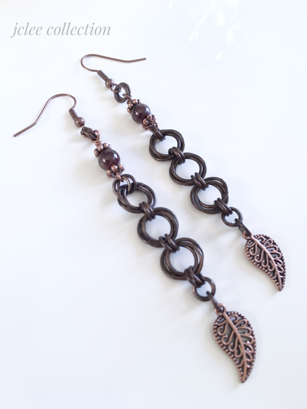 Long Rusic Copper Chainmaille Earrings with Garnet Gemstones
