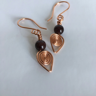 Red Garnet Gemstone Earrings with Copper Arrow Shaped Coils January Birthstone