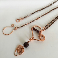 "Copper Heart Necklace with Garnet Gemstones and Swarovski Crystals 17"" Chain"