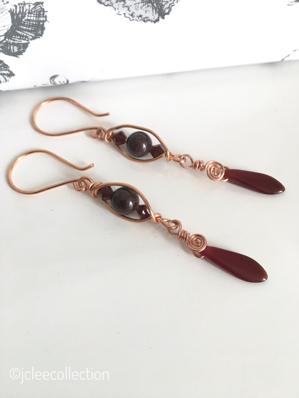 Garnet and Copper Gemstone Earrings with Dagger Drops January Birthstone