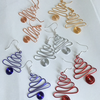 Colourful Wire Work Christmas Tree Earrings in Various Colours