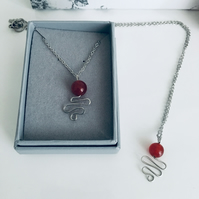 Red Ruby Round Gemstone Pendant Necklace for July Birthday Gift Idea