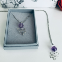 Amethyst Round Gemstone Pendant Necklace for February Birthday Gift Idea