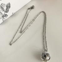 Forever Knot Necklace in Aluminium and Silver, 10th Anniversary Gift for her.