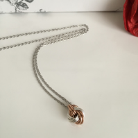 Pure Bronze and Sterling SIlver infinity Love Knot Necklace 8th Anniversary Gift