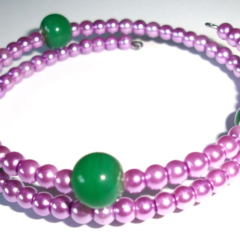Purple and Green - Bracelet and Earrings
