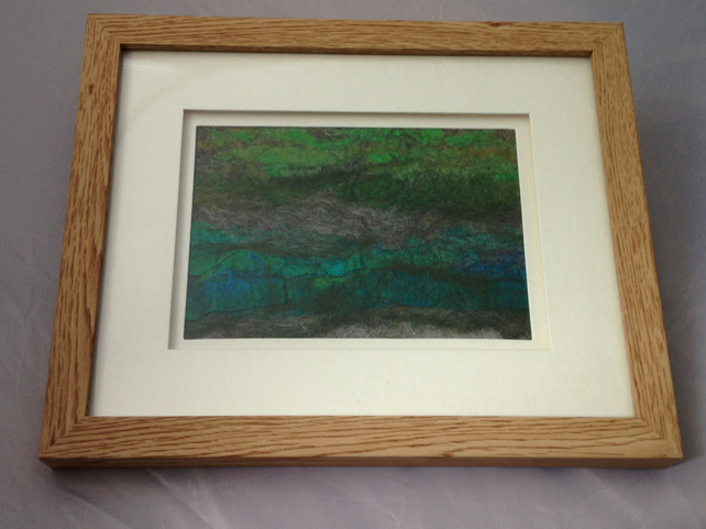 "A wet felted picture entitled ""Low Tide"""