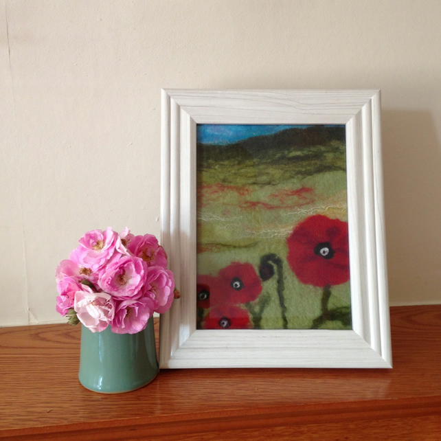 Poppies - a wet felted picture, a perfect gift!