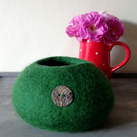 Dark Green, Small Felted Trinket Bowl
