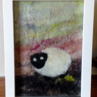 Lone Sheep Felted Picture