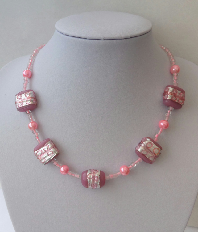 Pink glass bead necklace, pearl and foiled lampwork beads