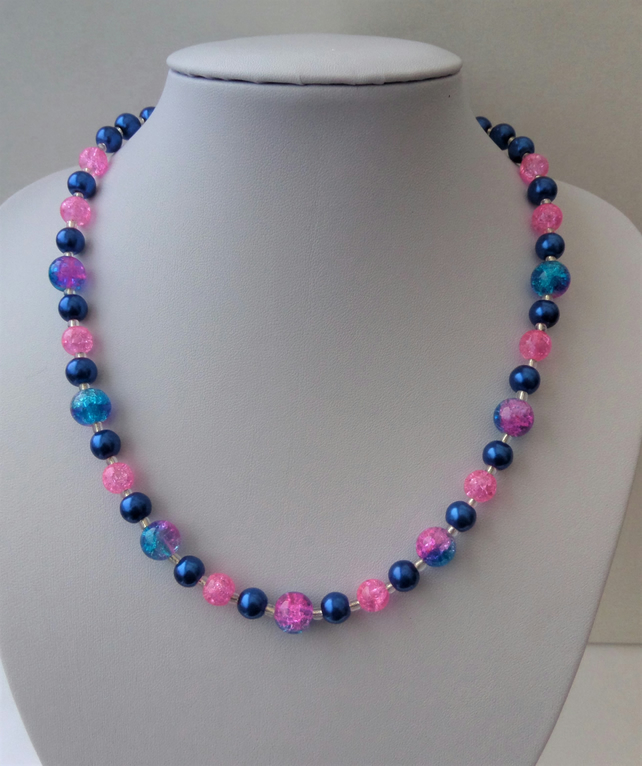 Blue glass pearl and pink crackle bead necklace