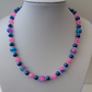 Vibrant pink and blue necklace