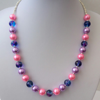 Vibrant pink, purple and blue necklace