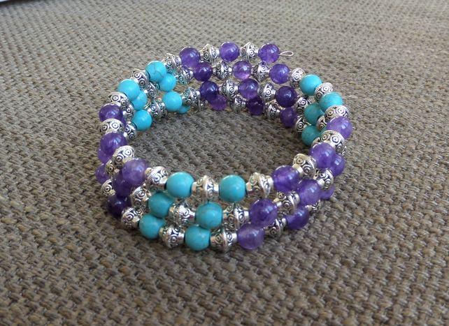 Tibetan silver, turquoise and purple gemstone memory wire wrap bracelet