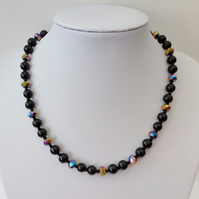 Black glass pearl, rainbow rondelle crystal bead necklace