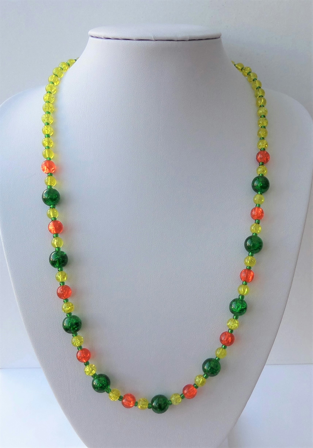 Yellow, orange and green glass beaded necklace.