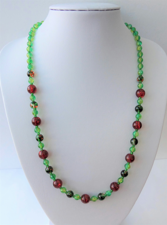 Green, yellow and red glass beaded necklace.