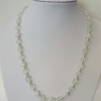 Clear glass bead necklace, frosted and crackle beads.