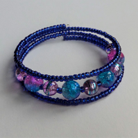 Blue and pink and silver glass bead and seed bead wrap bracelet
