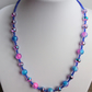 Blue, pink and silver glass bead necklace