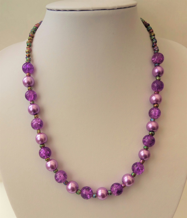 Orchid purple glass bead and metallic rainbow seed bead necklace