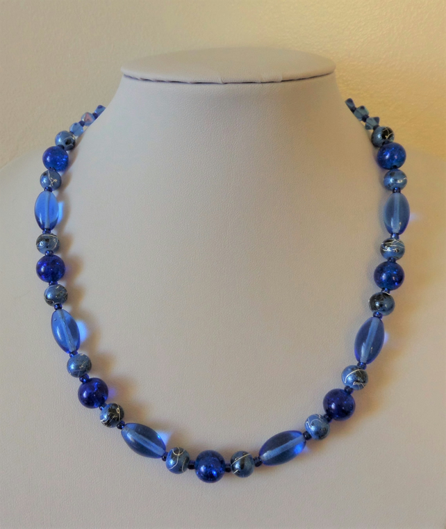 Mixed blue glass bead necklace