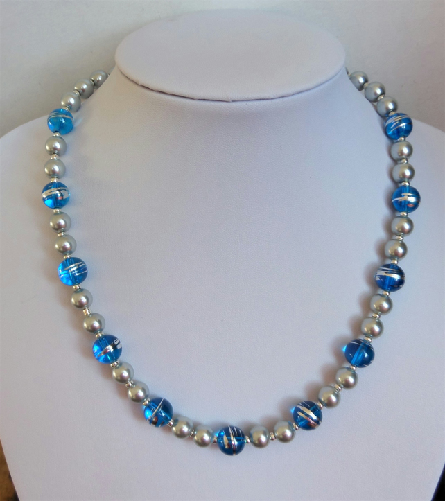 Reduced. Blue and silver and silver glass pearl bead necklace