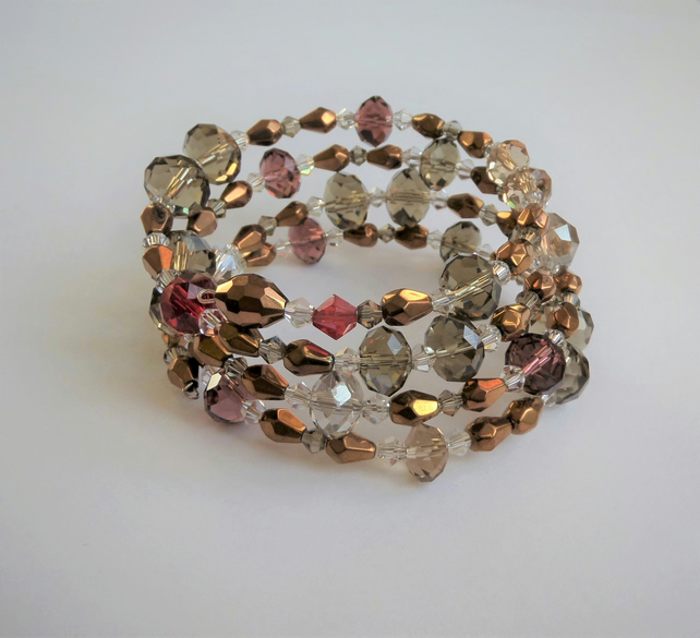 Sparkly crystal bead memory wire wrap bracelet