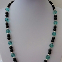 Light blue and black glass bead and glass pearl necklace