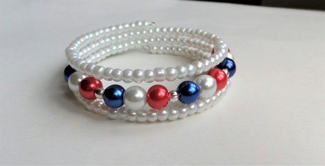 Red, white & blue glass pearl memory wire wrap bracelet