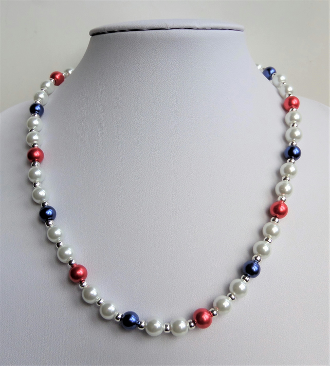 Red white and blue glass pearl necklace.