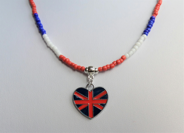 Red white and blue seed bead necklace, enamelled heart charm.