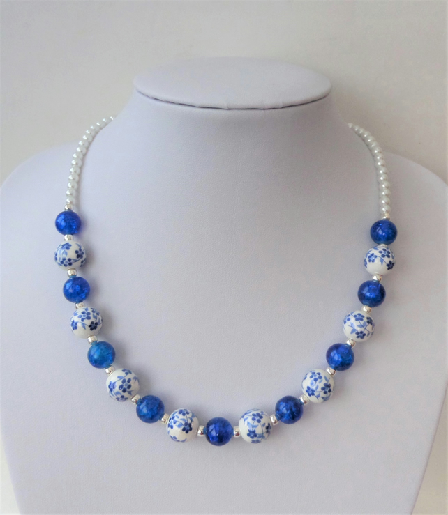 Blue and white ceramic and crackle bead necklace