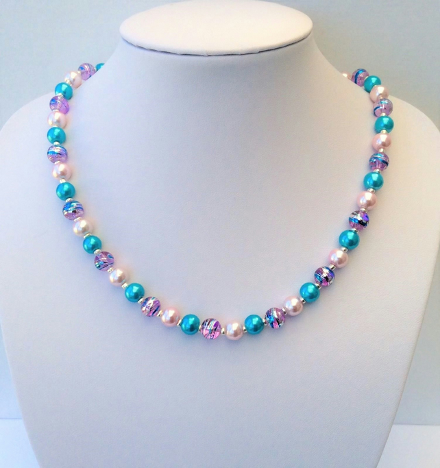 Pink, silver and turquoise glass bead necklace. 18.5""