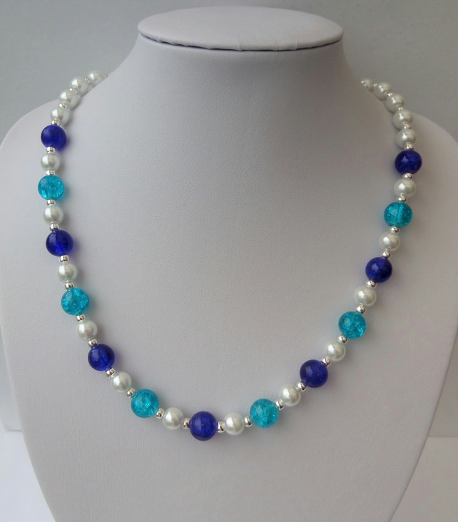 White glass pearl and two colours of blue crackle glass bead necklace.