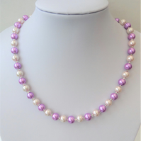 Orchid purple and light pink glass pearl necklace.