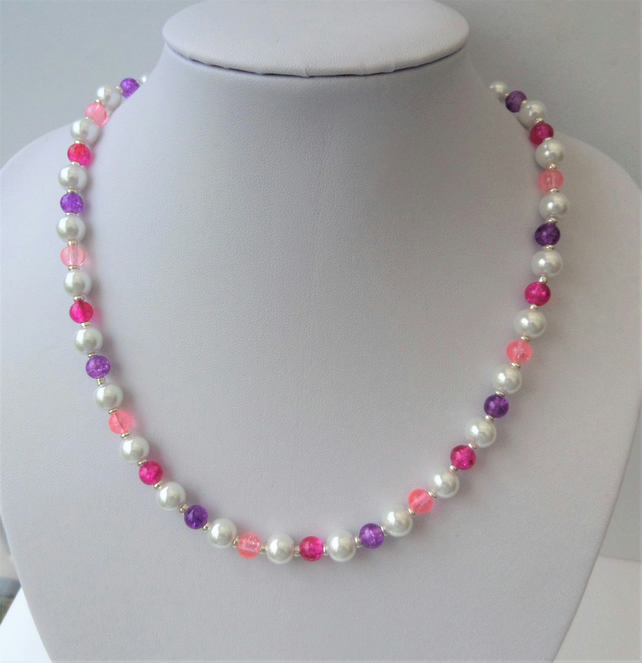 White pearl and dark and light pink and purple crackle bead necklace