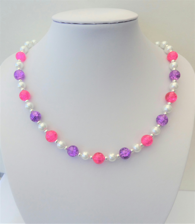 White glass pearl, pink and purple crackle glass bead necklace.