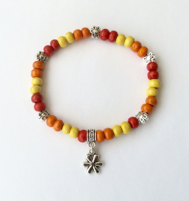 Summery red, orange & yellow wooden elasticated bracelet