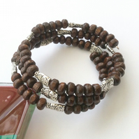 Dark brown wood and Tibetan silver owls memory wire wrap bracelet