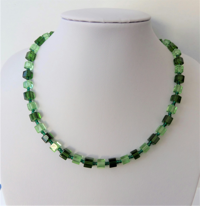 Two colour green glass cube bead necklace.