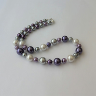 White, silver, grey and purple glass pearl bead necklace.