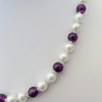 White pearl and dark purple crackle bead necklace