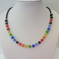 Multicoloured glass cube bead and black pearl necklace
