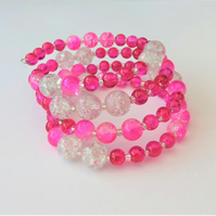 Sparkly pink and clear memory wire wrap bracelet.