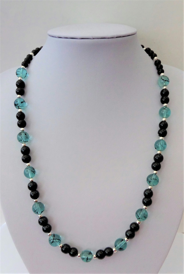 Light blue glass bead and black glass pearl necklace